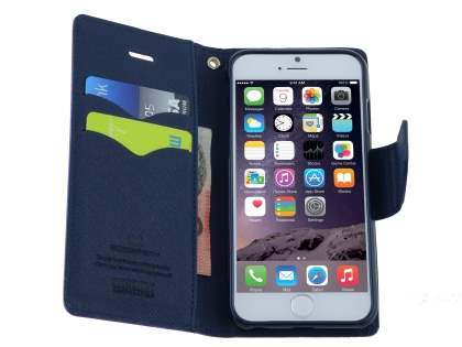Mercury Colour Fancy Diary Case with Stand for iPhone 6s Plus / 6 Plus - Mint/Navy