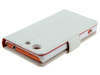 Synthetic Leather Wallet Case with Stand for Sony Xperia Z3 Compact - Pearl White