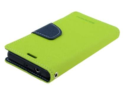 Mercury Colour Fancy Diary Case with Stand for Sony Xperia Z3 Compact - Lime/Navy