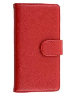 Nokia Lumia 830 Slim Synthetic Leather Wallet Case with Stand - Red