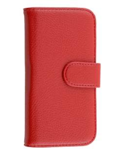 HTC One mini 2 Synthetic Leather Wallet Case with Stand - Red
