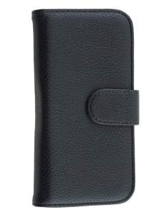 Synthetic Leather Wallet Case with Stand for HTC One mini 2 - Classic Black