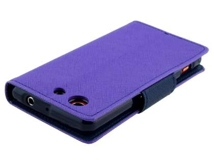 Mercury Goospery Colour Fancy Diary Case with Stand for Sony Xperia Z3 Compact - Purple/Navy