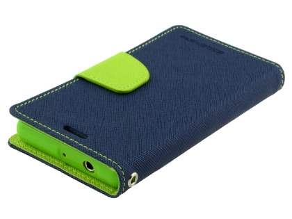 Mercury Colour Fancy Diary Case with Stand for Sony Xperia Z3 Compact - Navy/Lime
