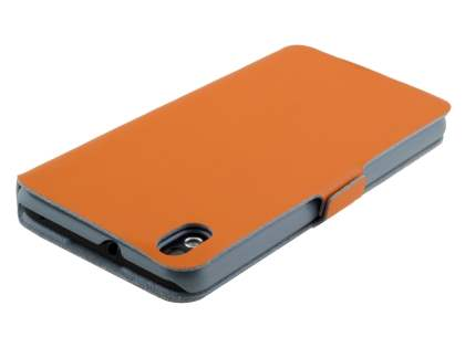 HTC Desire 816 Slim Genuine Leather Portfolio Case - Orange