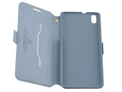 Slim Genuine Leather Portfolio Case for HTC Desire 816 - Blue