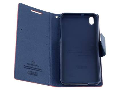 Mercury Colour Fancy Diary Case with Stand for HTC Desire 816 - Red/Navy