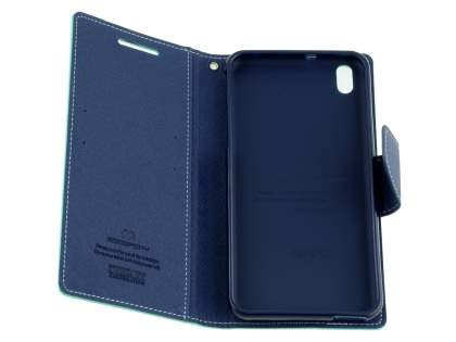 Mercury Colour Fancy Diary Case with Stand for HTC Desire 816 - Mint/Navy