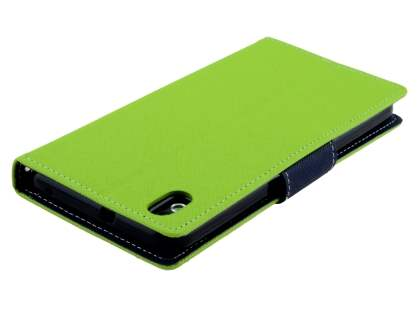 Mercury Colour Fancy Diary Case with Stand for HTC Desire 816 - Lime/Navy