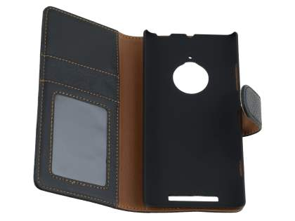 Nokia Lumia 830 Slim Synthetic Leather Wallet Case with Stand - Classic Black
