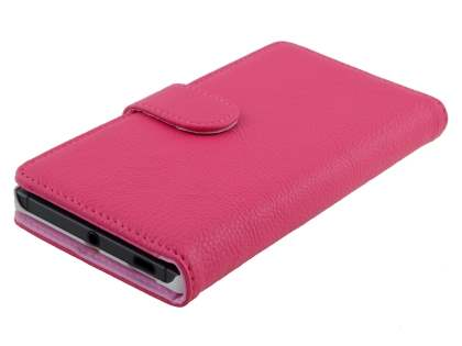 Nokia Lumia 830 Slim Synthetic Leather Wallet Case with Stand - Pink
