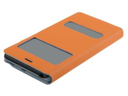 Sony Xperia Z3 Slim Genuine Leather Portfolio Case - Orange