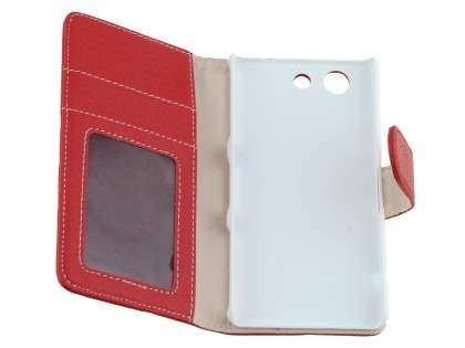 Sony Xperia Z3 Compact Slim Synthetic Leather Wallet Case with Stand - Red