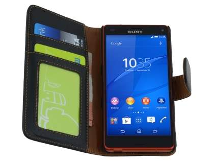 Sony Xperia Z3 Compact Slim Synthetic Leather Wallet Case with Stand - Classic Black