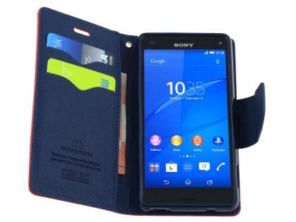 Mercury Colour Fancy Diary Case with Stand for Sony Xperia Z3 Compact - Red/Navy
