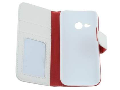 Synthetic Leather Wallet Case with Stand for HTC One mini 2 - Pearl White