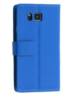 Synthetic Leather Wallet Case with Stand for Samsung Galaxy Alpha - Blue Leather Wallet Case