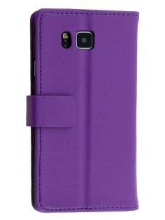 Synthetic Leather Wallet Case with Stand for Samsung Galaxy Alpha - Purple Leather Wallet Case