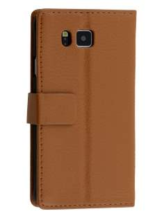 Synthetic Leather Wallet Case with Stand for Samsung Galaxy Alpha - Brown Leather Wallet Case