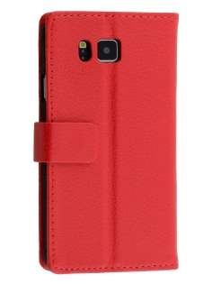 Synthetic Leather Wallet Case with Stand for Samsung Galaxy Alpha - Red Leather Wallet Case