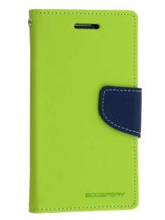 Mercury Goospery Colour Fancy Diary Case with Stand for Samsung Galaxy Alpha - Lime/Navy Leather Wallet Case
