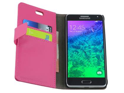 Samsung Galaxy Alpha Slim Synthetic Leather Wallet Case with Stand - Pink