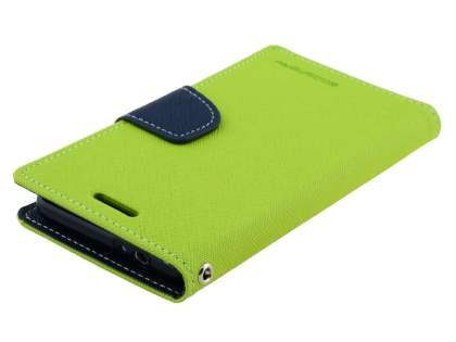 Mercury Colour Fancy Diary Case with Stand for Samsung Galaxy Alpha - Lime/Navy