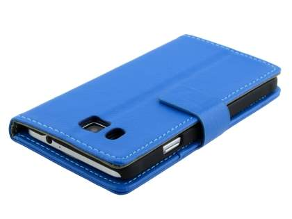 Synthetic Leather Wallet Case with Stand for Samsung Galaxy Alpha - Blue