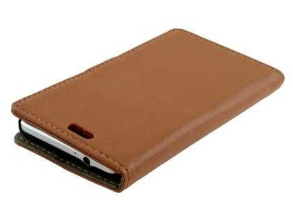 Samsung Galaxy Alpha Slim Synthetic Leather Wallet Case with Stand - Brown