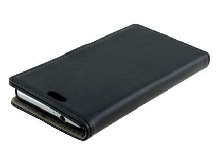 Synthetic Leather Wallet Case with Stand for Samsung Galaxy Alpha - Classic Black