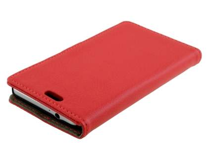 Synthetic Leather Wallet Case with Stand for Samsung Galaxy Alpha - Red