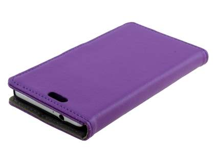 Synthetic Leather Wallet Case with Stand for Samsung Galaxy Alpha - Purple