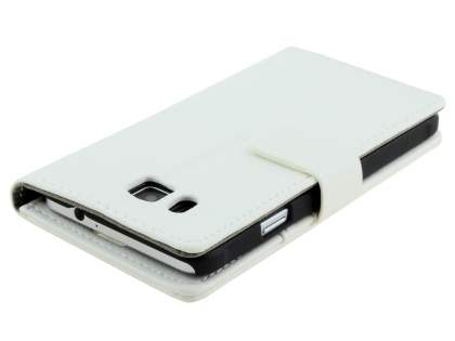 Samsung Galaxy Alpha Slim Synthetic Leather Wallet Case with Stand - Pearl White
