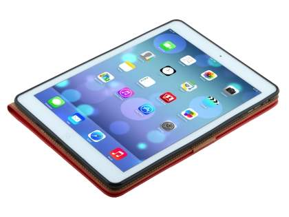 Premium Genuine Leather Case with Stand for iPad Air 1st Gen - Red