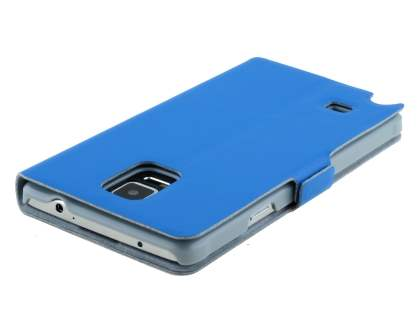 Slim Genuine Leather Portfolio Case for Samsung Galaxy Note 4 - Blue