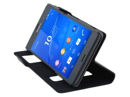 Sony Xperia Z3 Slim Genuine Leather Portfolio Case - Classic Black