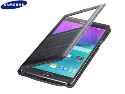 Genuine Samsung Galaxy Note 4 S-View Premium Cover Case - Charcoal