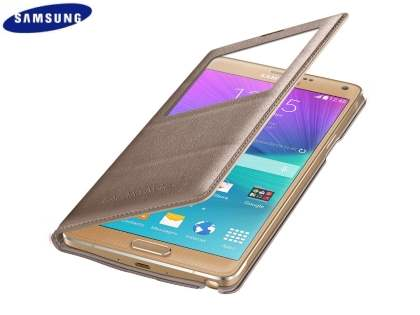Genuine Samsung Galaxy Note 4 S-View Premium Cover Case - Gold