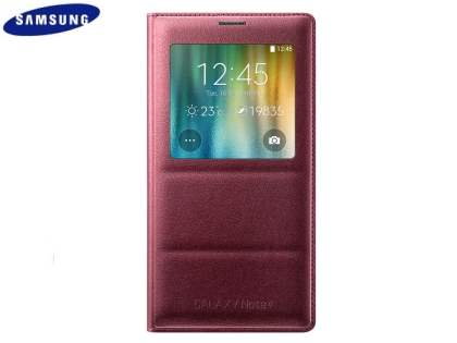 Genuine Samsung Galaxy Note 4 S-View Premium Cover Case - Plum