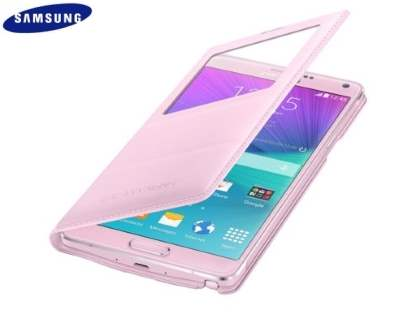 Genuine Samsung Galaxy Note 4 S-View Premium Cover Case - Baby Pink