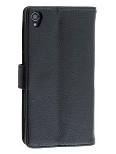Sony Xperia Z3 Slim Synthetic Leather Wallet Case with Stand - Classic Black Leather Wallet Case