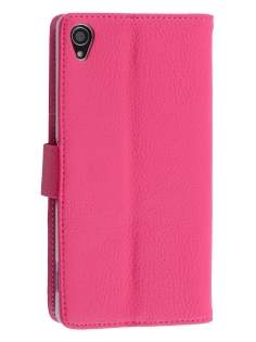 Sony Xperia Z3 Slim Synthetic Leather Wallet Case with Stand - Pink Leather Wallet Case