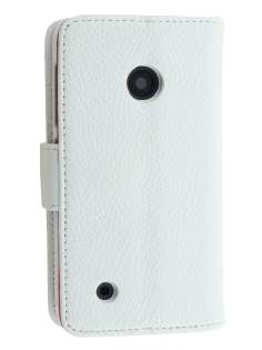 Synthetic Leather Wallet Case with Stand for Nokia Lumia 530 - Pearl White Leather Wallet Case