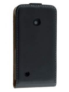 Slim Genuine Leather Flip Case for Nokia Lumia 530 - Classic Black Leather Flip Case
