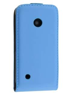 Slim Genuine Leather Flip Case for Nokia Lumia 530 - Sky Blue Leather Flip Case