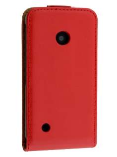 Slim Genuine Leather Flip Case for Nokia Lumia 530 - Red Leather Flip Case