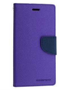 Mercury Colour Fancy Diary Case with Stand for Sony Xperia Z3 - Purple/Navy Leather Wallet Case