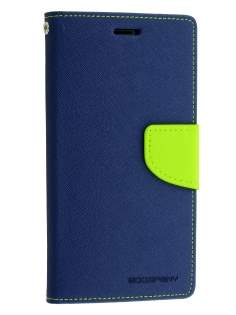 Mercury Colour Fancy Diary Case with Stand for Sony Xperia Z3 - Navy/Lime Leather Wallet Case