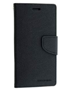 Mercury Colour Fancy Diary Case with Stand for Sony Xperia Z3 - Classic Black Leather Wallet Case