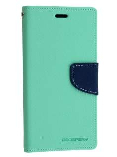 Mercury Colour Fancy Diary Case with Stand for Sony Xperia Z3 - Mint/Navy Leather Wallet Case